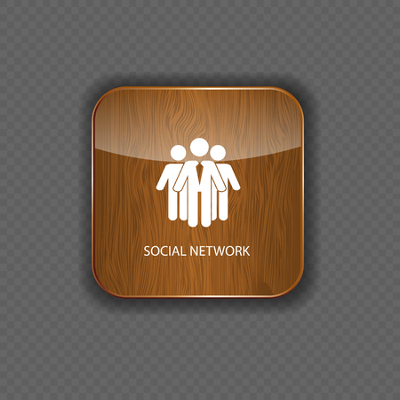 Social network  wood  application icons Stock Vector - 22258716