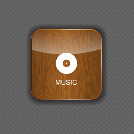 Music wood  application icons Stock Vector - 22258723