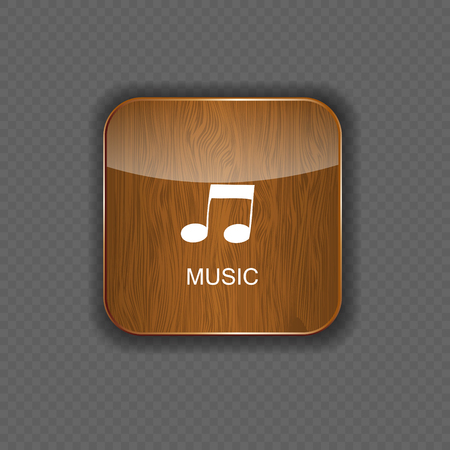 Music wood  application icons Stock Vector - 22258728