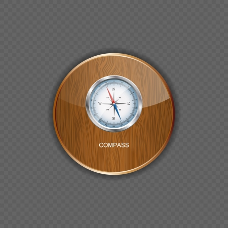 Glossy Compass. Vector Illustration  wood application icons Stock Vector - 22258853
