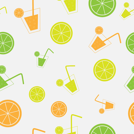 citrus Cocktail seamless pattern background vector illustration Vector