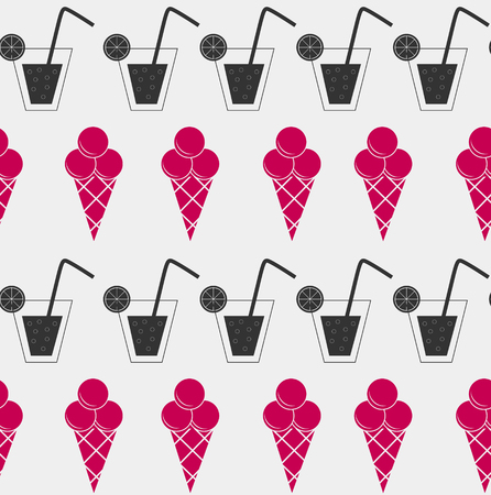 frozen drink: Drink and ice-cream seamless pattern background vector illustration