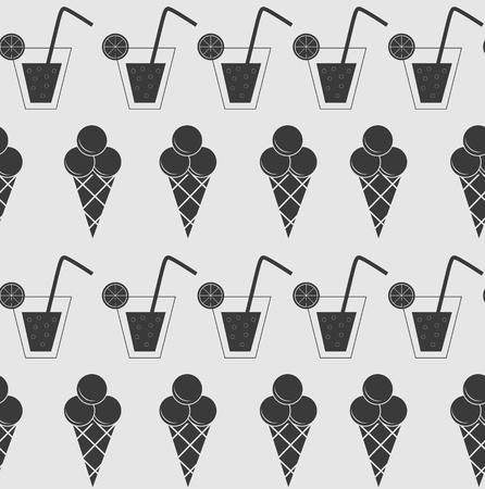 sem costura: A bebida e sorvete fundo sem emenda do vetor ilustra Ilustra��o
