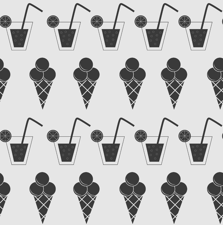 Drink and ice-cream seamless pattern background vector illustration Vector