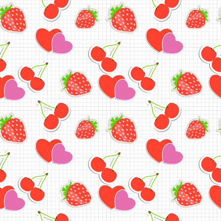 Seamless pattern with heart, cherry, strawberry. Vector illustration Vector