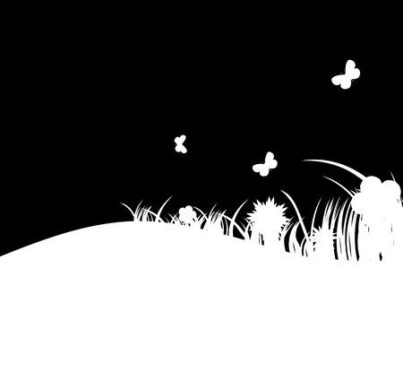 Flower and grass banner. vector illustration Stock Vector - 24163379