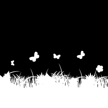 Flower and grass banner. vector illustration Stock Vector - 24163382