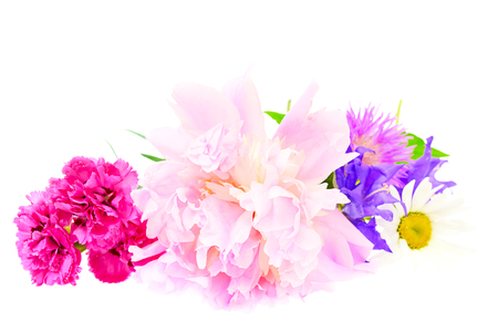 A bouquet of peony, carnation and clover isolated on white  photo