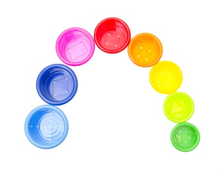 childs toy stacking cups isolated on white background Stock Photo