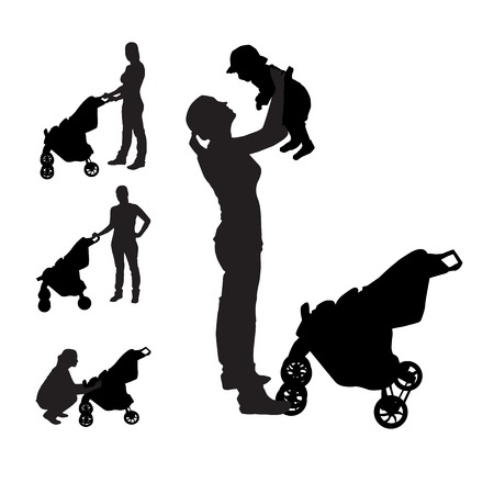Mother with pram Silhouette Vector Illustration Illustration