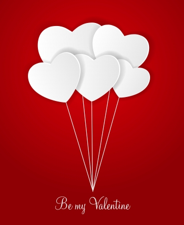 Happy Valentines Day card with heart. Vector illustration Vector