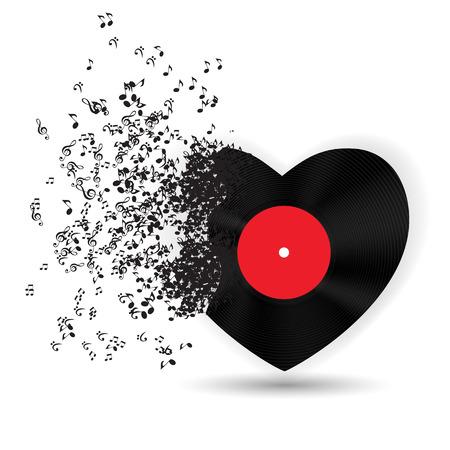 sfondo romantico: Happy Valentines Day Card con cuore, note di musica. Illustrazione vettoriale