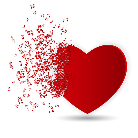 Happy Valentines Day Card  with Heart, Music Notes. Vector Illustration Stock Vector - 24874325