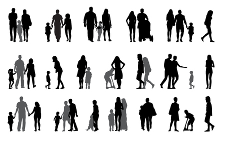 family with two children: Parents and children with pram Silhouette Vector Illustration