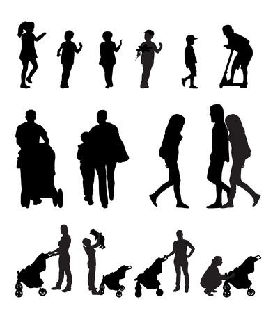 Mother with Pram and Children Silhouette Vector Illustration Illustration