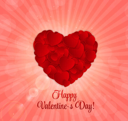 Happy Valentines Day Card with Heart.  Stock Vector - 24991994