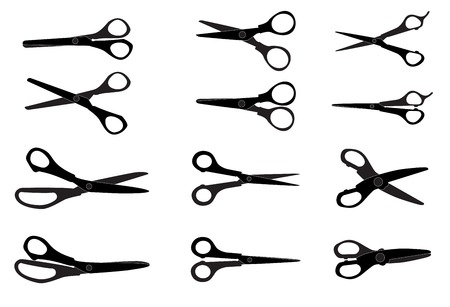 comb out: Set of Cutting Scissors  Vector Illustration