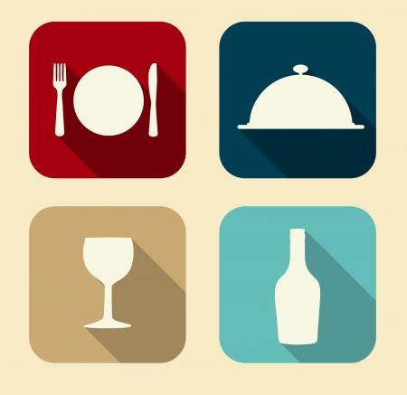 食べ物: Web およびモバイル アプリケーションのスタイリッシュな色ベクトル図の現代平らなフード アイコンを設定