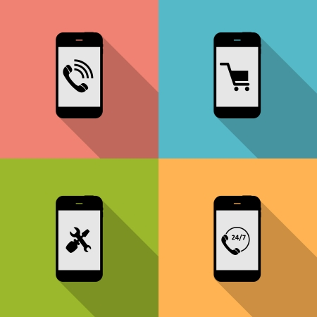 Concept on Different Mobile Phote Icons. Vector Illustration Vector