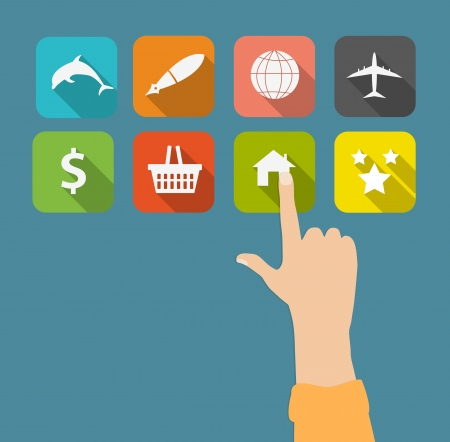 Hand with flat icons vector illustration Vector