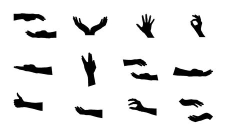 Black Set of Hand. Illustration Vector