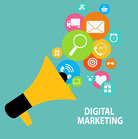 digital: Digital Marketing Concept for Different Electronic Devices. Illustration