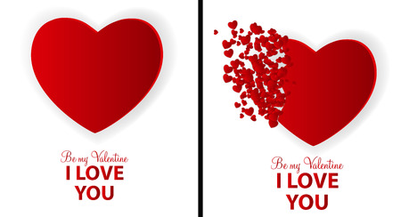 Big Set of Happy Valentines Day Card with Heart. Vector Illustration Vector