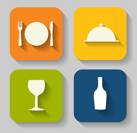 healthy eating: Modern Flat Food Icon Set for Web and Mobile Application in Stylish Colors Vector Illustration