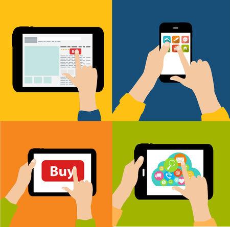 Online Shopping Flat Concept Vector Illustration Vector