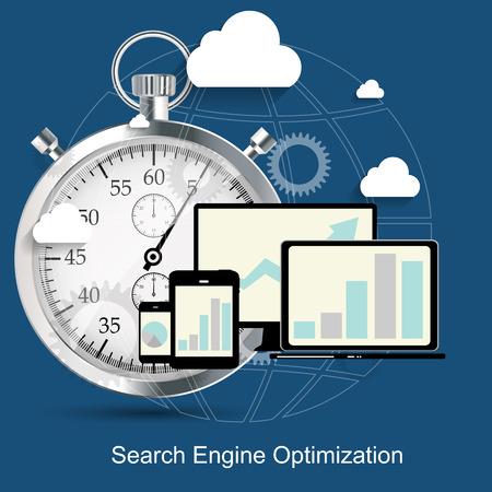 SEO - Search Engine Optimization Flat Icon Vector Illustration Vector