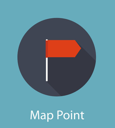 Map Point Flat Icon Concept Illustration Vector