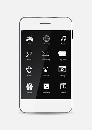 White Mobile Phone with Icons on the Screen Illustration Vector