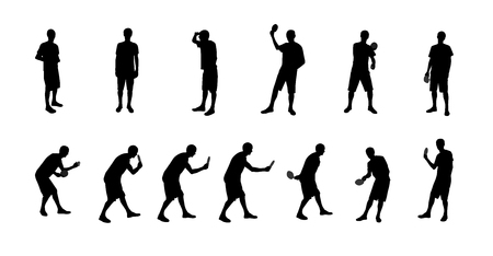 Set of Silhouettes of People Playing table tennis Illustration. Vector