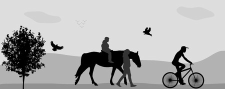 reins: People walking in the park on a horse and bicycle. Vector Illustration.