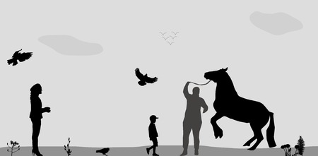 reins: People Walk on, Connie, Birds Fly in Nature. Vector Illustration.
