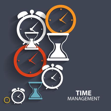administración del tiempo: Modern Flat Tiempo Gestión del vector del icono de la aplicación web y móvil Vectores