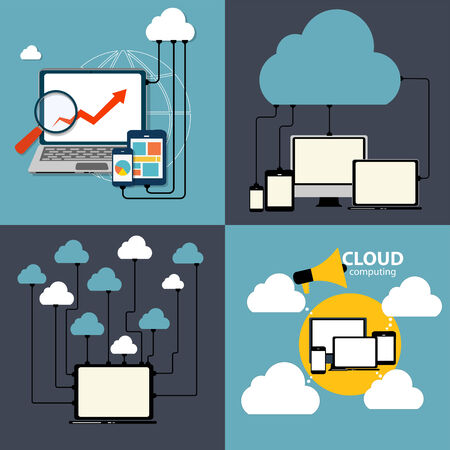 computing device: Cloud Computing Concept on Different Electronic Devices. Vector Illustration