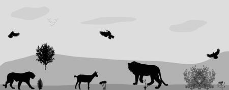 mara: Wild Animals on the Prowl. Vector Illustration. Illustration