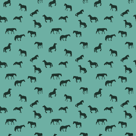 cow silhouette: Horse Runs, Hops, Gallops Isolated. Seamless Pattern.