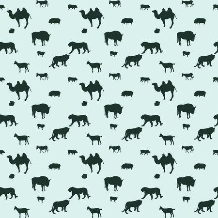 Silhouette of Wild and Domestic Animals. Seamless Pattern. Vector Illustration. Vector