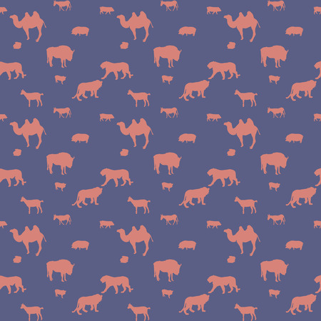 camel silhouette: Silhouette of Wild and Domestic Animals. Seamless Pattern. Vector Illustration.