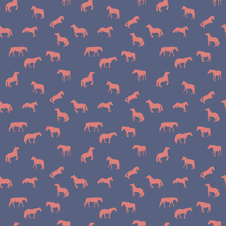Horse Runs, Hops, Gallops Isolated. Seamless Pattern. Vector