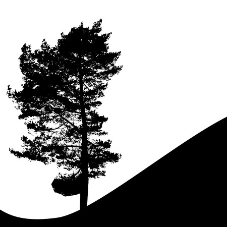 Tree Silhouette Isolated on White Backgorund. Vecrtor Illustration Çizim