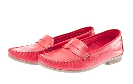 moccasins: Red moccasins isolated on white background Stock Photo
