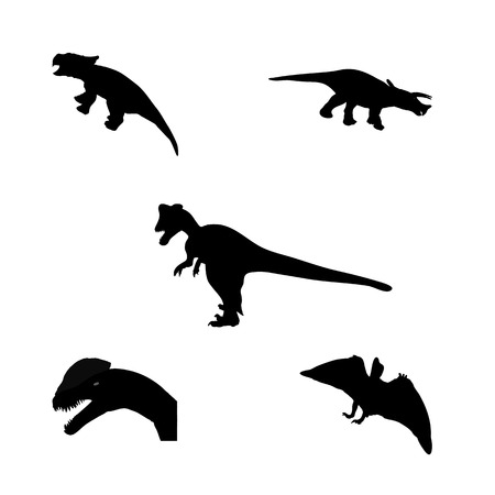 Set of Silhouette Dinosaur. Black Vector Illustration Vector