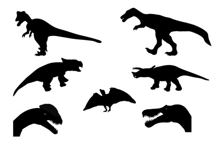 Set of Silhouette Dinosaur.  Vector