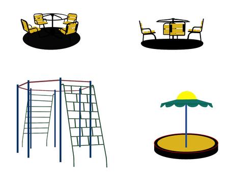 Set of Silhouette Swing Black on White Background. Vector Illustration. Vector