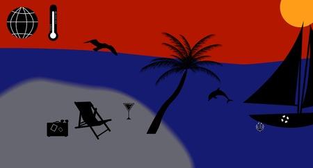 暖かい海、太陽、ビーチ、バケーション ベクトル イラスト
