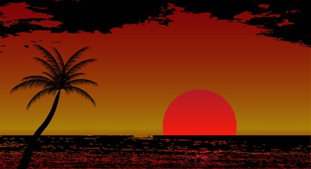 暖かい海、太陽、休暇のベクトル図  イラスト・ベクター素材