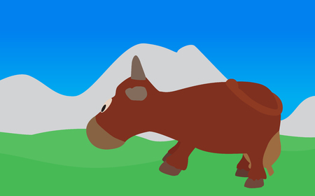 eats: Cow Walks, Eats the Grass  Vector Illustration    Illustration